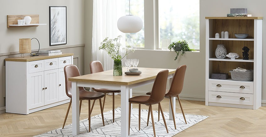Dining room with pendant light over dining table