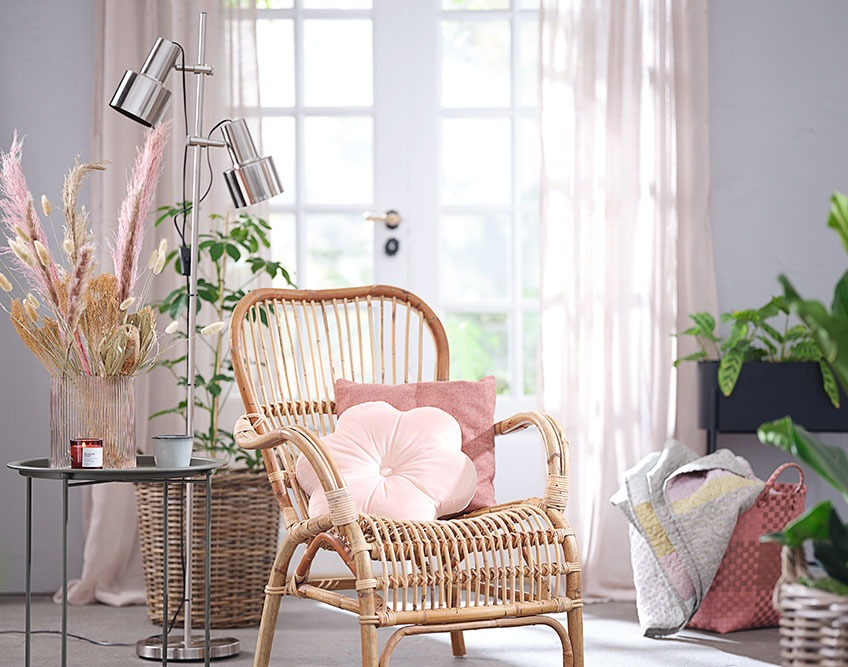 Reading nook with floor lamp and armchair